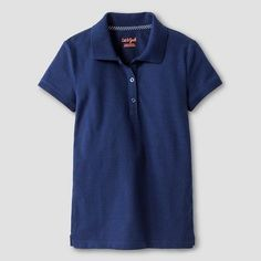 Cat & Jack Girls' Pique Stain Resist Polo Shirt Navy XS