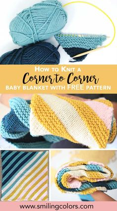 Learn how to Knit this easy corner to corner baby blanket with FREE pattern. Also called the Increase decrease pattern, C2C blanket, Diagonal knit blanket or the Bias knit square blanket @smithakatti