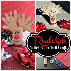 Handprint Reindeer Toilet Paper Roll Craft For Kids (Rudolph at Christmas Time!) #Christmas craft for kids | CraftyMorning.com
