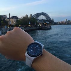 beautiful Sydney harbour bridge in the evening... Swatch System 51 & Sydney Harbour Bridge #sydeny #sydneyharbourbridge #sydneyharbour #therocks #swatch #system51 #watch #wristshot # by watchwithview http://ift.tt/1NRMbNv