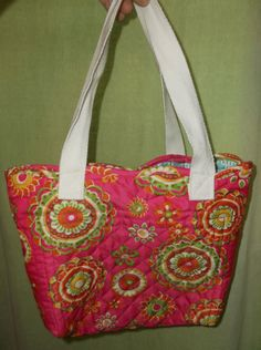 Hand Sewn Pink Yellow  Green Floral Fabric Small Tote Bag Purse Lunch Bag Gift Bag Upcycled Adult Child Toddler by TheRoyaleRagbag on Etsy