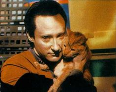 Brent Spiner as Data (my favourite Next Gen character), with his cat, Spot :D