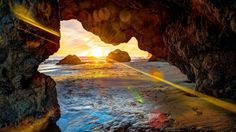 amazing beach cave in sunrise hdr