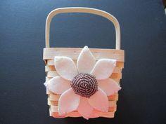 Flower Girl Basket Wedding Ivory Purple by ArtisanFeltStudio on Etsy