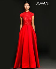 Red ballgown with satin skirt Dress 98027