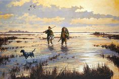 duck hunting | painting of hunters and a dog wading in a marsh at sunrise