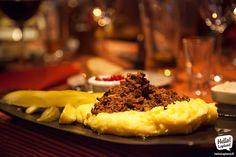 Traditional reindeer stew with mashed potatoes. Enjoyed at Franshammi restaurant in Rovaniemi.