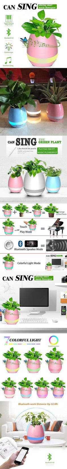 Music Flowerpot,Touch Plant Piano Music Playing Flowerpot Smart Multi color LED Light Round Plant Pots and Bluetooth Wireless Speaker for Office Home Decor-QINUKER (whitout Plants)Pink