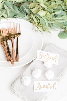 Set up your holiday dinner parties with geometric place card holders.