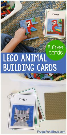 LEGO Animal Mosaic Building Cards - Frugal Fun For Boys and Girls LEGO Animal M . LEGO Animal Mosaic Building Cards - economical fun for boys and girls . Lego Activities, Craft Activities For Kids, Summer Activities, Preschool Activities, Crafts For Kids, Projects For Kids, Lego Girls, Lego For Kids, Fun For Kids