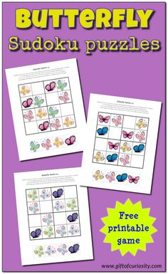Butterfly Sudoku Puzzles {free printables} - Gift of Curiosity Sudoku Puzzles, Puzzles For Kids, Worksheets For Kids, Insect Activities, Science Activities For Kids, Spring Activities, Insects For Kids, Crafty Kids, Toddler Fun