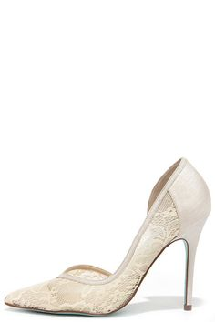 c5cbd1a8bbe327 Elegance comes easy to the Blue by Betsey Johnson Grace Champagne Lace  D Orsay Heels! Lace and satin upper has a pointed-toe design with  sweetheart vamp.