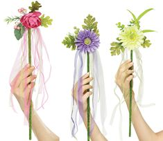 Cute fairy flower wands if I ever need one for some little girl's gift