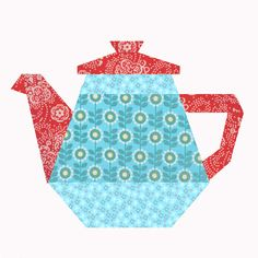 Tea Pot paper pieced quilt block pattern