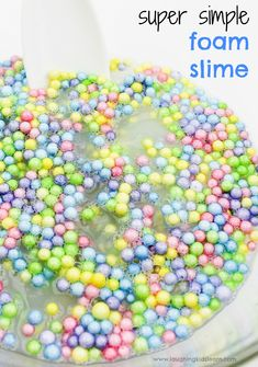 Simple slime recipe with foam balls - Laughing Kids Learn Fun Activities For Kids, Infant Activities, Crafts For Kids, Steam Activities, Sensory Activities, Sensory Tubs, Sensory Play, Playing With Slime, Kids Playing