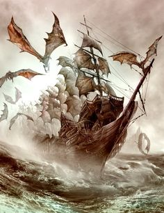 Dragon - another really interesting concept....dragons hanging out in/as sails.  Would they flap while there to increase speed when necessary?  Cool!