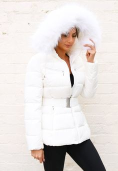 Harper Luxe Quilted Longline Hooded Puffer Coat with Faux Fur Trim & Belt in White Ladies Coats, Coats For Women, Clothes For Women, Puffer Coat With Fur, Winter Jackets Women, Fur Jacket, Fur Trim, Latest Fashion For Women, Winter Coat