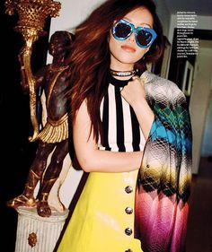 Michelle Phan rocking our yellow leather skirt in the February issue of Nylon Magazine