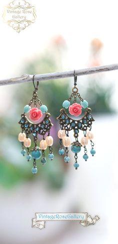 Boho Chandelier Earrings, Frida Kahlo's Earrings, Statement Turquoise Pink Earrings by VintageRoseGallery Etsy Jewelry, Boho Jewelry, Fine Jewelry, Handmade Jewelry, Unique Jewelry, Jewellery, Pink Earrings, Boho Earrings, Etsy Earrings