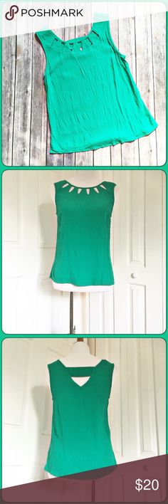 ☘Kelly Green Top Awesome top, worn once.  Came in one of my stitch fixes.  Color is Kelly green. Skies are Blue Tops Tank Tops