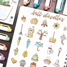 Bujo inspiration fall doodles by ig cool ideas Inspiration Drawing, Doodle Inspiration, Bullet Journal Inspiration, Doodle Drawings, Cute Drawings, Doodle Art, Planner Doodles, Bujo Doodles, Bullet Journal 2020