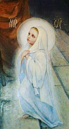 DESDE MUY PEQUEÑITA, LA VIRGEN MARÍA ES LLEVADA AL TEMPLO, PARA SER ENTREGADA A DIOS.... Blessed Mother Mary, Blessed Virgin Mary, Catholic Pictures, Novena Prayers, Queen Of Heaven, Mama Mary, Sainte Marie, Immaculate Conception, Catholic Art