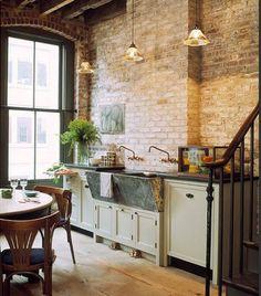 Vintage kitchen, brick wall
