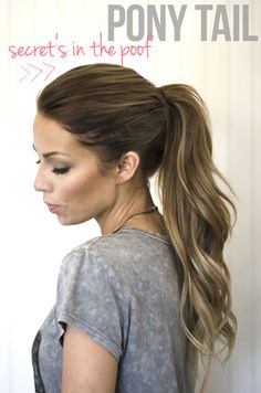Neat ponytail trick - pull everything but the very front and top into the pony, then tease, spray with hairspray, and pull back with the rest. Makes the top have volume and not look so severely pulled back. {SC 061413}