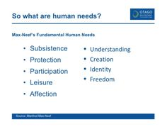 What are human needs?
