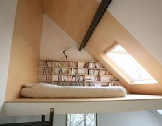 cozy loft nook with bright light and books!