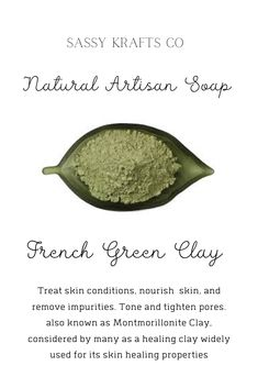 Super amazing all natural face bar! Great for sensitive skin. The infusion of the green French clay helps to absorb impurities and draw out dirt and toxins. This is removing excess oils without stripping your skin. Clarify, tone and tighten. Clary sage and lemon grass essential oils are so sweet and subtle with floral, earthy tones with a touch of clear sweet lemon. The blend  is good for soothing and calming #sassykraftsco#facesoap#soapmaker#soaper#artisansoap#soaps#acnesoap#greenclay Clary Sage Essential Oil, Lemongrass Essential Oil, Natural Essential Oils, Natural Face, Natural Skin Care, Green Soap, Face Soap, Healing Clay, Vitis Vinifera