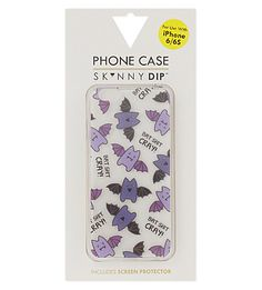 Put a contemporary spin on your trusty handset with this phone case from Skinny Dip. Accented with a playful bat design, the sturdy case is guaranteed to protect your phone everywhere you go. Iphone 6, Iphone Cases, Skinnydip London, Screen Protector, Tech Accessories, Dips, Doodles, Shoe Bag, Purple