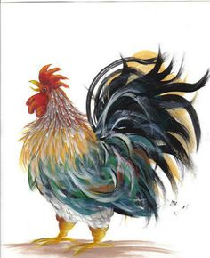 Mr. Cackle was my first decorative painting pattern to design for artists to learn how I paint feathers!
