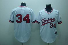 Twins #34 Kirby Puckett Stitched White Cooperstown Throwback Baseball Jersey