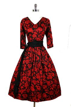 Vintage 50s Bombshell Roses Cocktail Party Dress