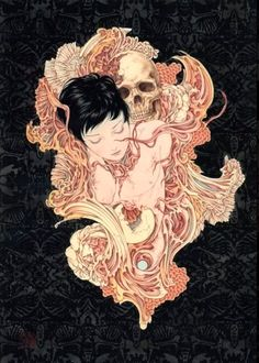 (Artist-Takato Yamamoto)      At the end of every struggle filled, life affirmation chasing, day, when sleep calls, there is a tiny death.              ...   At the end of every story a small death.             Don't live in fear, you have practiced this moment all your life. _______ The full impact, and sum of your life story washes over you, as your soul inverts into dreams.-CxII