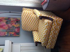 Yellow zig zags reupholstered on antique chair!