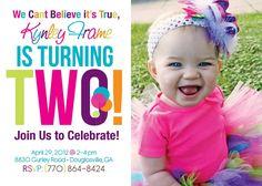2nd Birthday Invitations Templates Free Ideas Parties Girl Rainbow