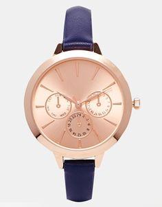 ASOS – Uhr mit großem Zifferblatt und schmalem Armband