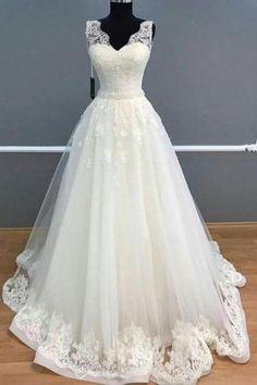 a2281747e694 Charming Tulle Appliques Lace Bridal Dress, Elegant White Wedding  Dress,W2782 Brudklänningar 2018,