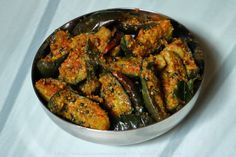 Menthi Podi Veysina Vankaya Kura (Vepudu) is an Andhra-style Brinjal Fry that is spiced with a fenugreek flavoured lentil powder. Andhra Recipes, Indian Food Recipes, Vegetarian Recipes, Ethnic Recipes, Brinjal Recipes Indian, Tomato Chutney, Fish Curry, Quick Meals, Fries