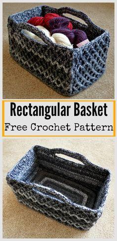 Rectangular Diamond Trellis Basket Free Crochet Pattern #Crochet #Freepattern #Basket