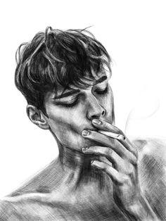 The guy smokes. image - The guy smokes. Image, the - Dark Art Drawings, Pencil Art Drawings, Art Drawings Sketches, Portrait Sketches, Sketchbook Inspiration, Art Sketchbook, Pencil Portrait, Portrait Art, Smoke Drawing