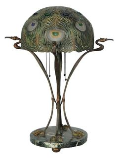 Art Nouveau Marble, Bronze & Glass Lamp