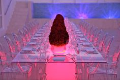 pink glow, Ghost chair and Lucite table, red roses