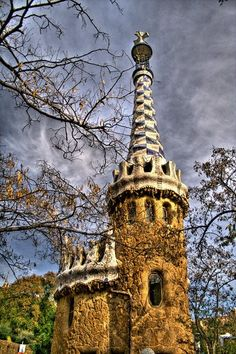 hdr from 3 pics Gaudi, Parc Guell, Hdr, Mosaic, Travel Photography, Tower, Building, Inspiration, Lighthouses