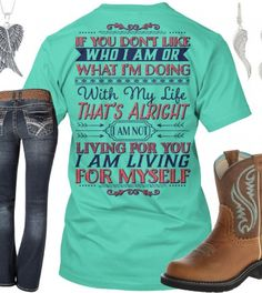 I Am Not Living For You, I Am Living For Myself Outfit - Real Country Ladies (casual country outfits) Country Girl Outfits, Country Girl Shirts, Country Girl Style, Country Fashion, Shirts For Girls, My Style, Country Apparel, Country Life, Camo Outfits