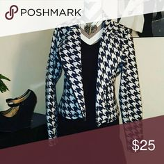 Black and white houndstooth jacket Black and white houndstooth jacket, $25.  Condition: Great Always Authentic. Smoke-free home. No trades please. Happy Poshing!! Don't forget to bundle 2 or more items and save 10%. Ohhhhhh, and feel free to make me a reasonable offer with that fabulous little offer button! ;)  P.S. Accessories are not included, interested in the entire outfit? Just ask or search my closet.   xoxo  Top 10% SELLER! Fast SHIPPER!! Rated 5 STARS!!! Jackets & Coats