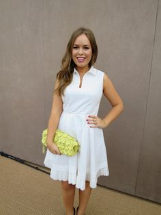 White Dress & Petal Bag At Burberry AW14 Show | Tanya Burr
