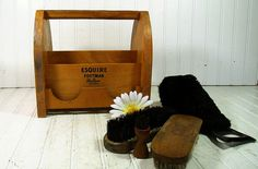 Retro Wooden Shoe Shine Kit  Vintage Esquire by DivineOrders, $35.00